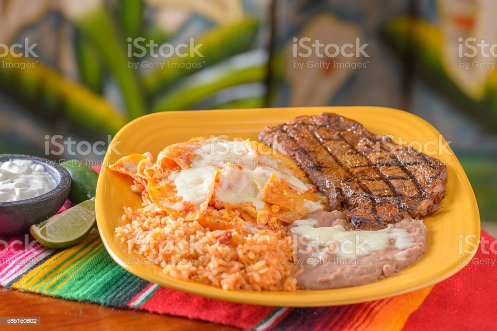Traditional Mexican food steak plate stock photo