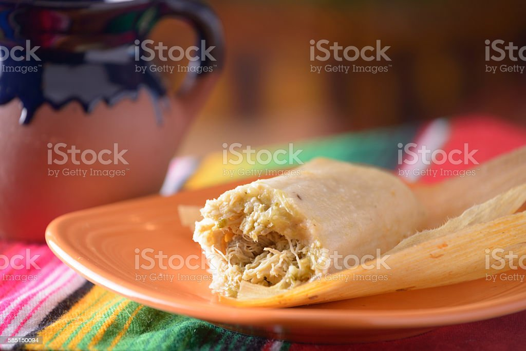 Traditional Mexican food tamales with coffee stock photo