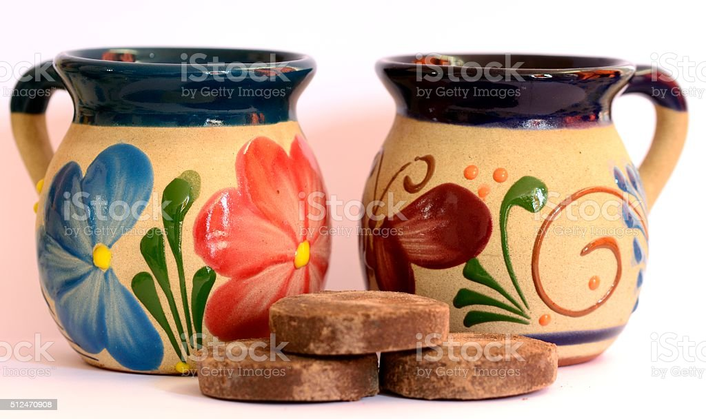 Traditional mexican hot cocoa and pottery, hot chocolate stock photo