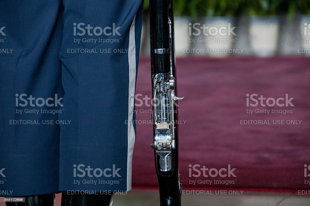 Traditional military rifle of the Taiwanese soldier stands stock photo