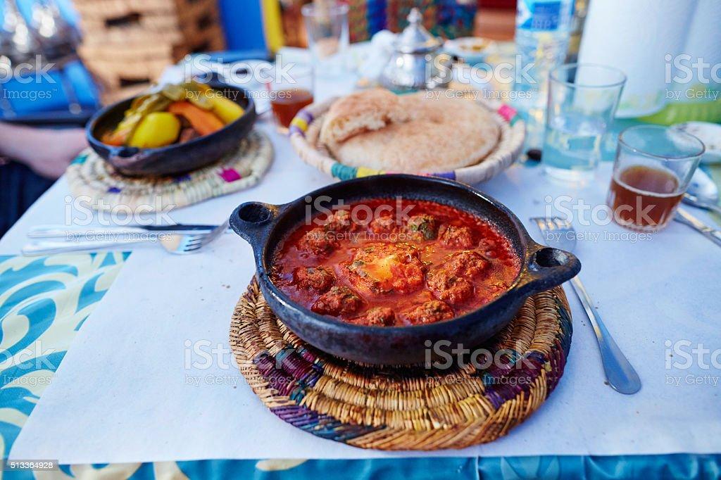 Traditional Moroccan dish kefta tajine stock photo