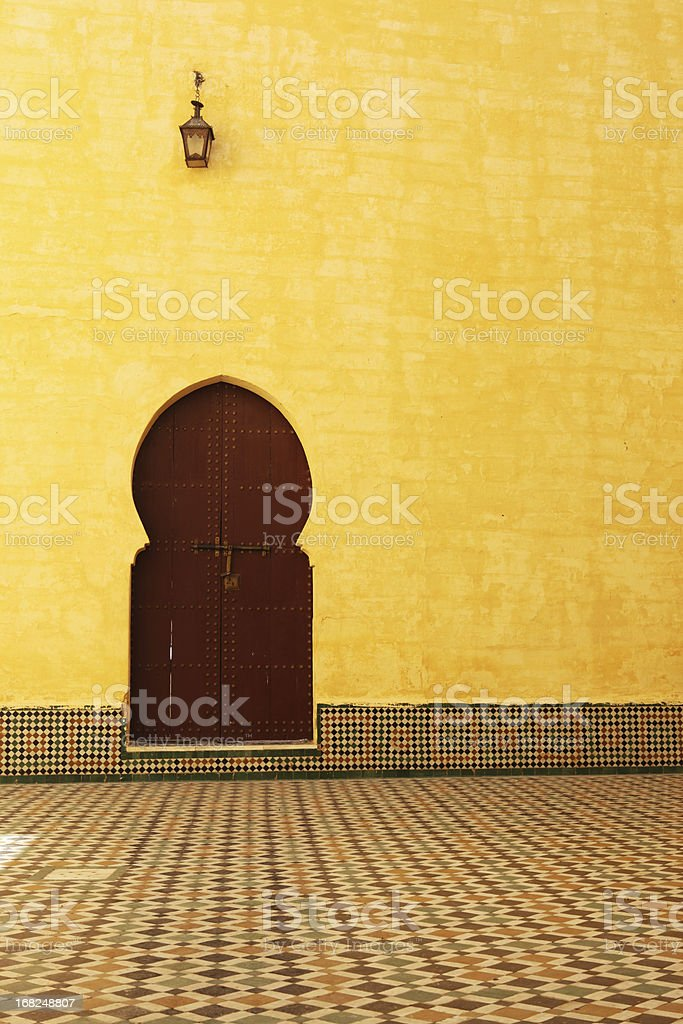 Traditional Moroccan Door inside the Mausoleum of Moulay Ismail stock photo