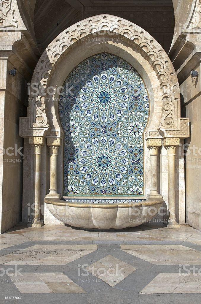Traditional Moroccan fountain, King Hassan II mosque, Casablanca stock photo