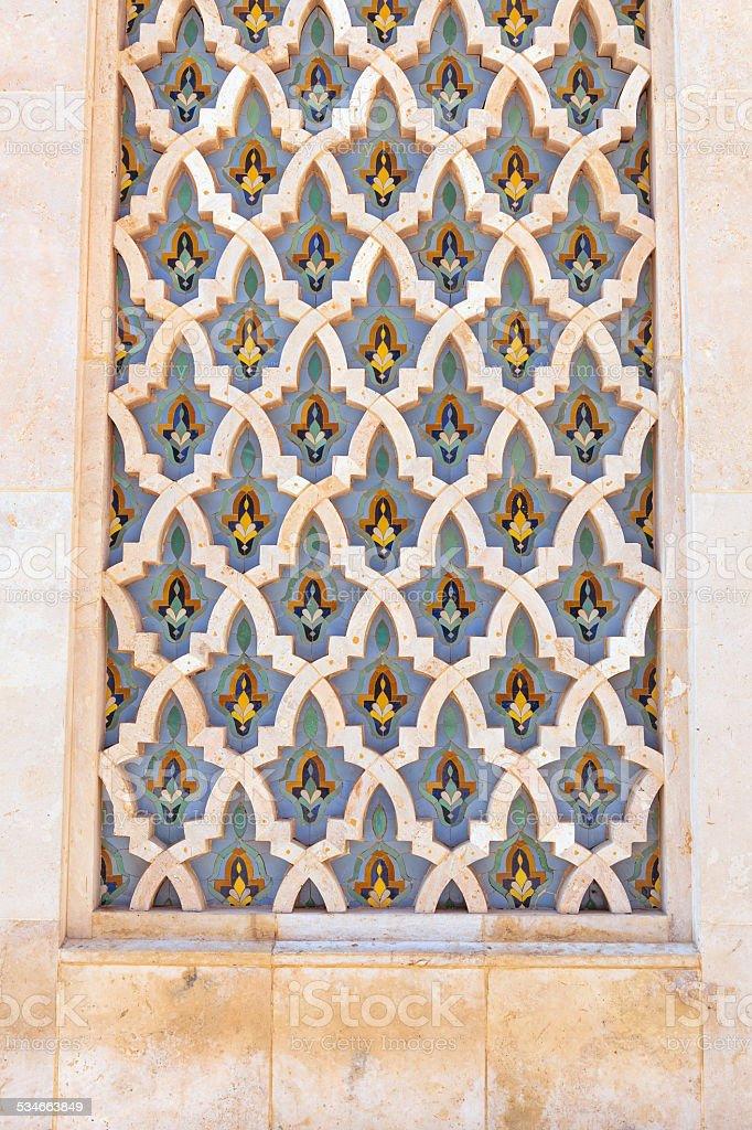 Traditional Moroccan Islamic Mosaic Hassan II Mosque Casablanca Morocco stock photo