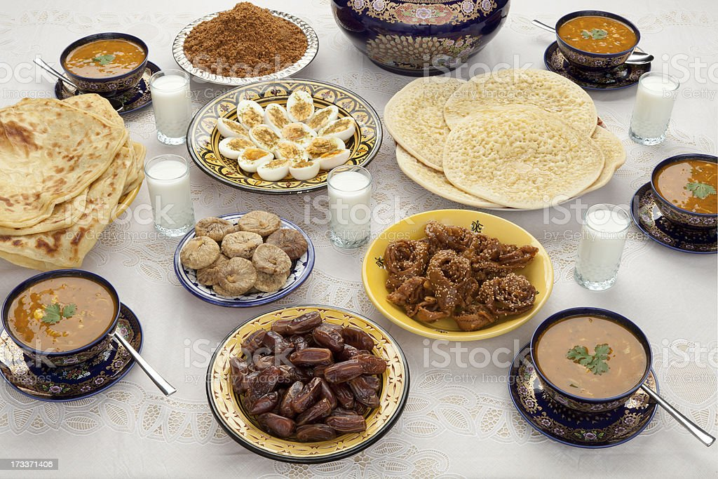 Traditional Moroccan meal for iftar in Ramadan stock photo