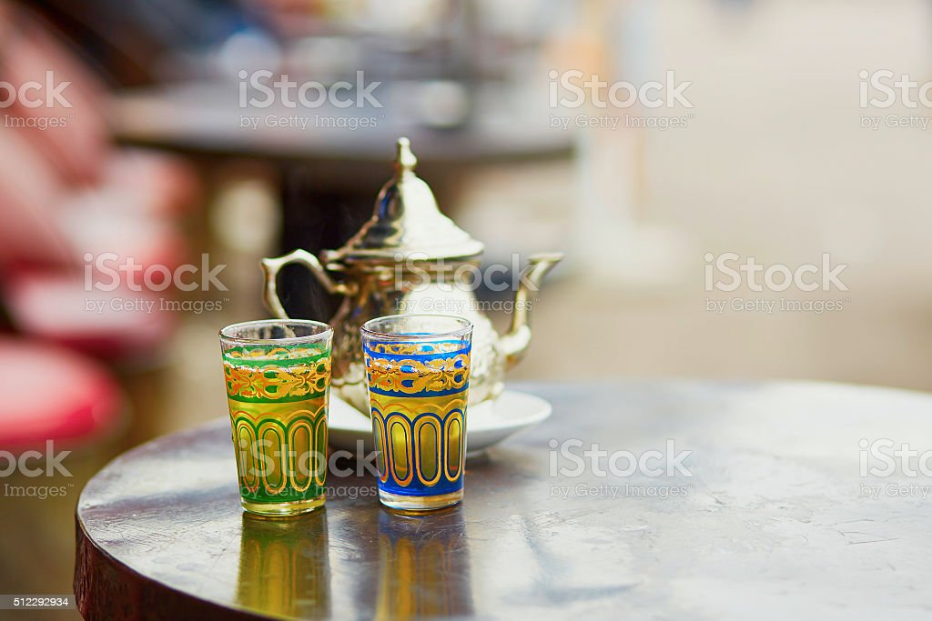 Traditional Moroccan mint tea in a cafe of Marrakech stock photo