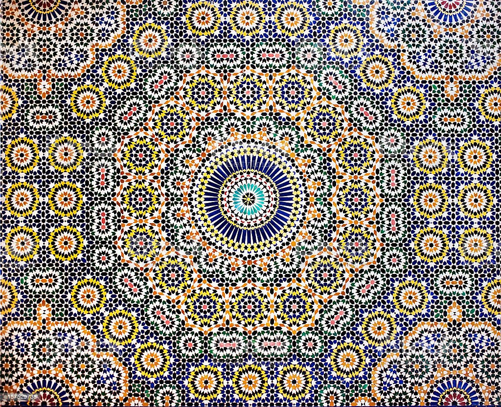 Traditional Moroccan Mosaic pattern tiled wall stock photo