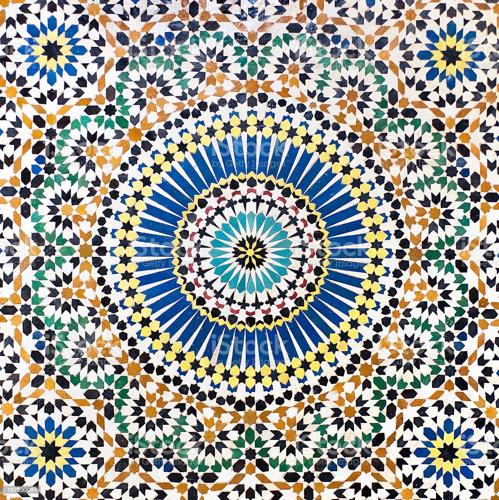 Traditional Moroccan Mosaic tiled wall stock photo