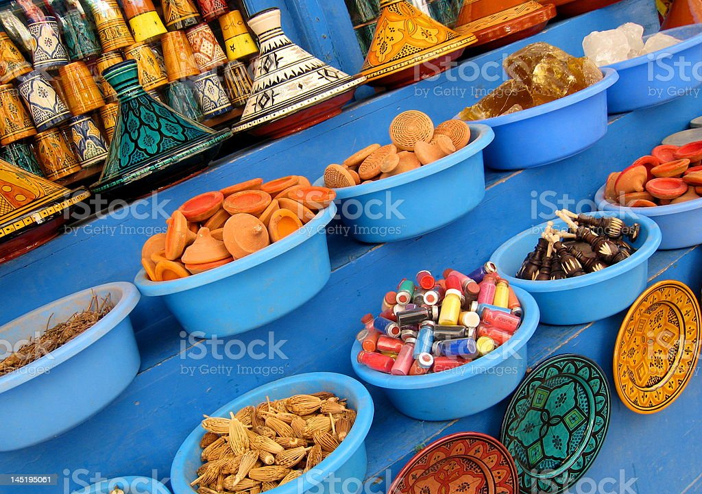 Traditional Moroccan Pottery on the Market royalty-free stock photo