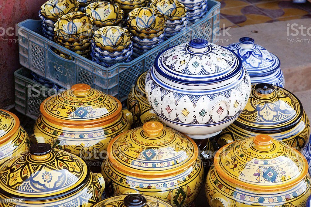 Traditional moroccan pottery royalty-free stock photo