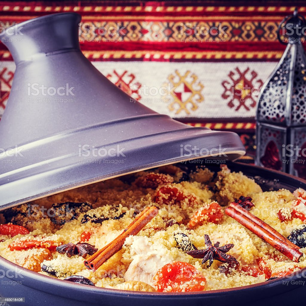 Traditional moroccan tajine of chicken stock photo