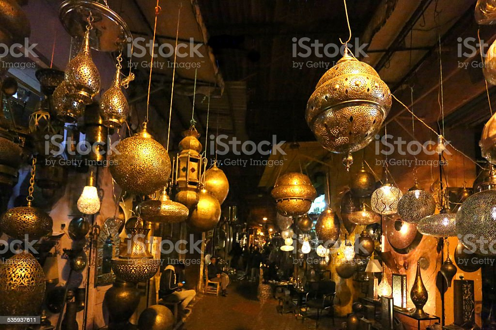 Traditional Morrocan lamps stock photo