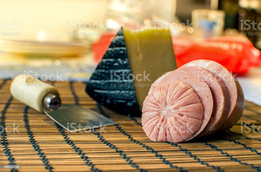 traditional Mortadella with Pecorino cheese (italian food) stock photo