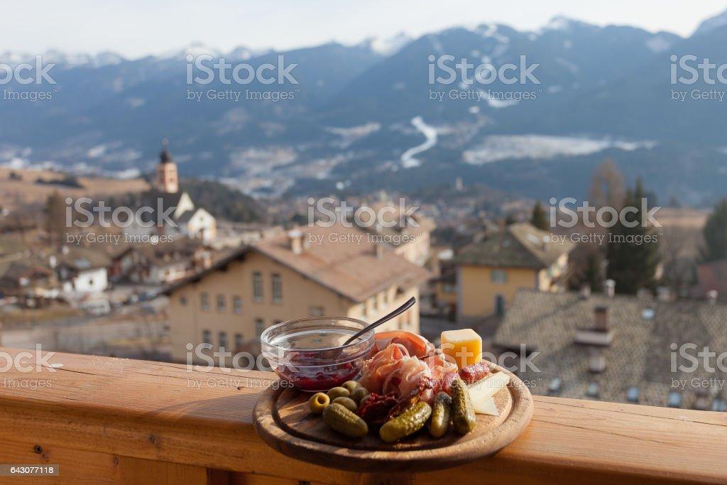 Traditional mountain italian lunch stock photo