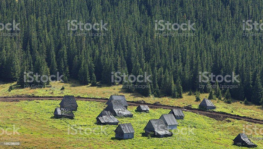 Traditional Mountain Village In Transylvania,Romania royalty-free stock photo