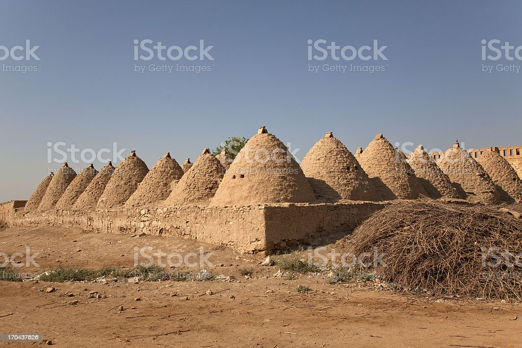 Traditional mud brick  houses in the village of Harran Turkey stock photo
