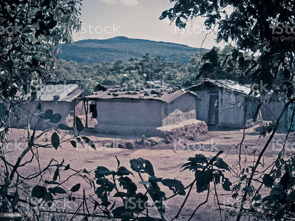 Traditional mud houses stock photo