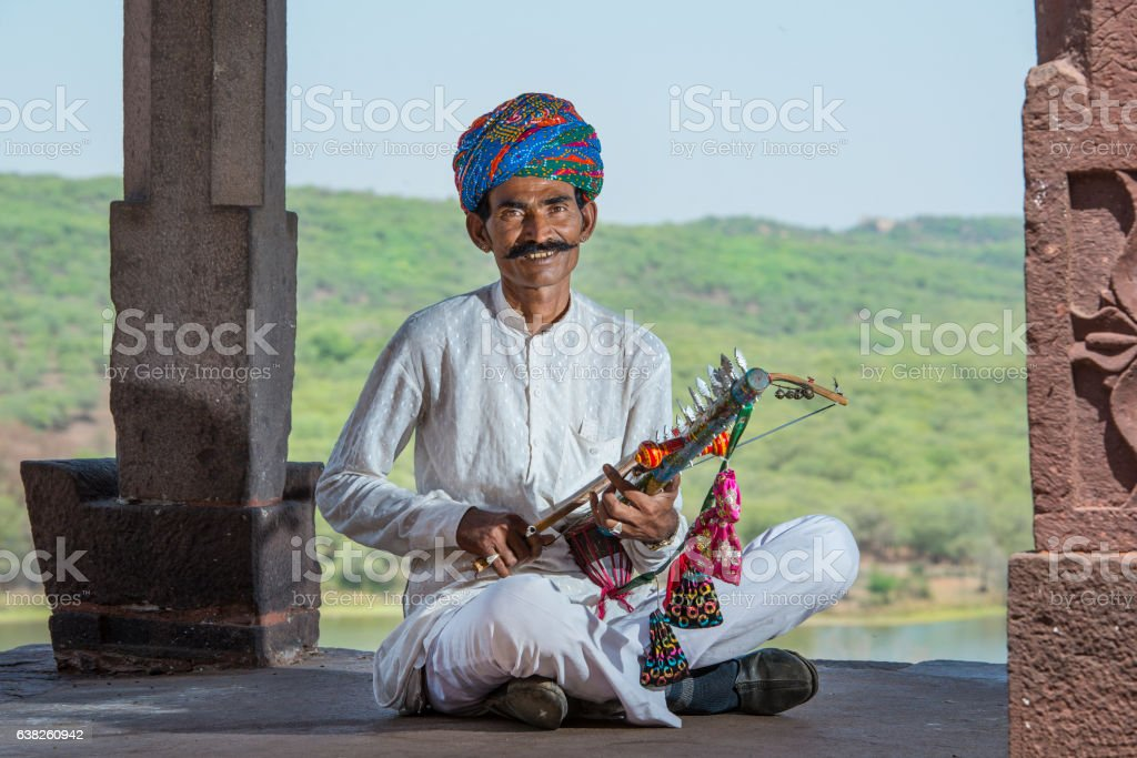 Traditional musician  from Rajasthan, India stock photo