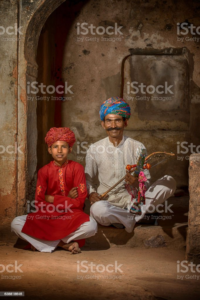 Traditional musicians  from Rajasthan, India stock photo