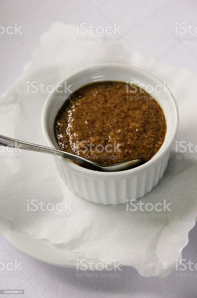 Traditional Mustard in pot stock photo