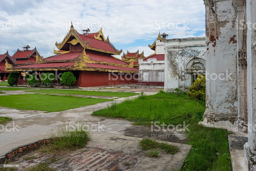 Traditional Myanmar architecture at Mandalay palace, Myanmar stock photo