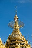 Traditional Myanmar style top of pagoda, Yangon city, Myanmar