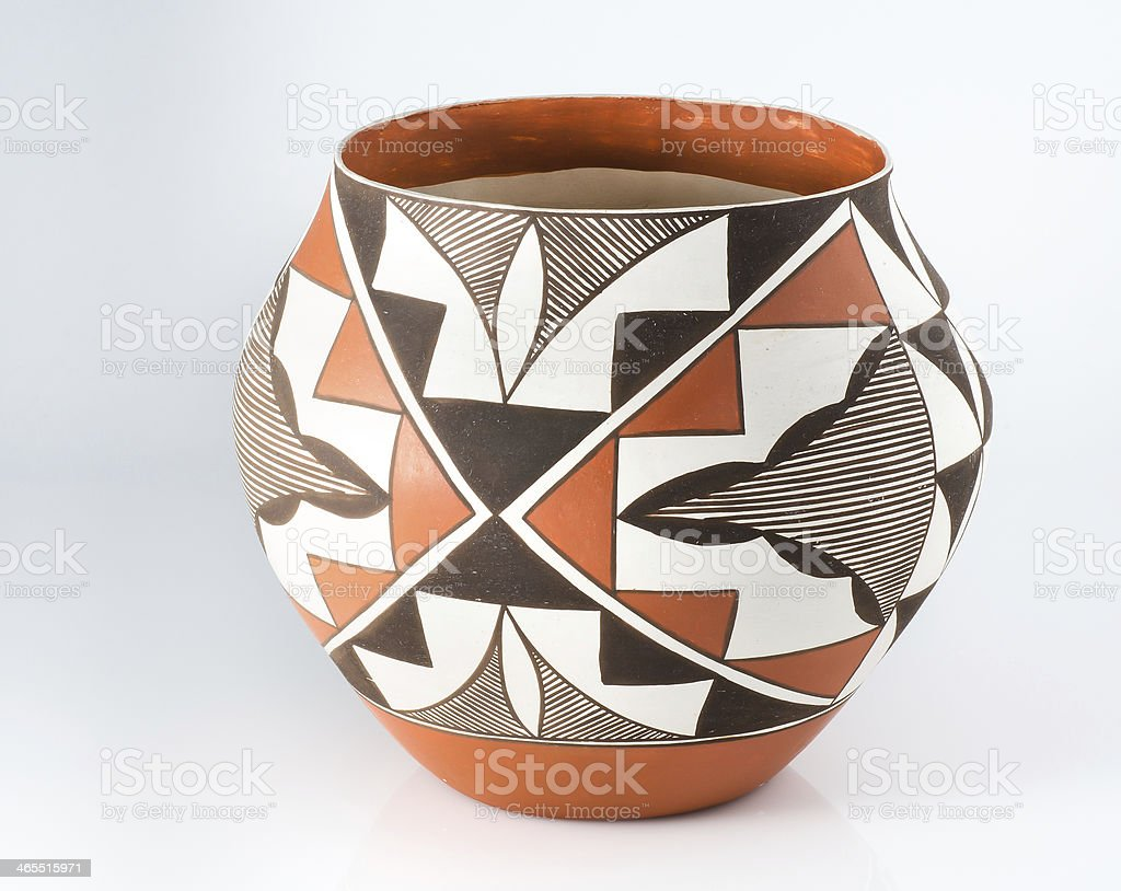 Traditional Native American Pueblo Pottery on white background. stock photo