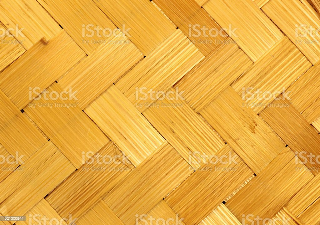 Traditional natural wicker texture, weathered yellow background stock photo