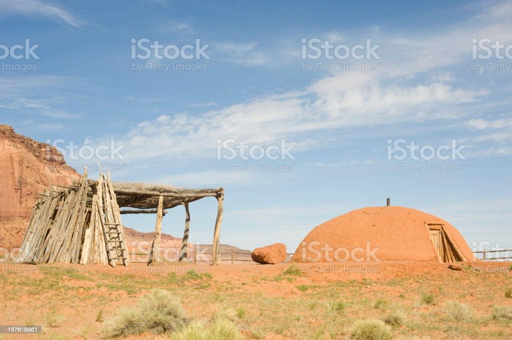 Traditional Navajo Hogan stock photo