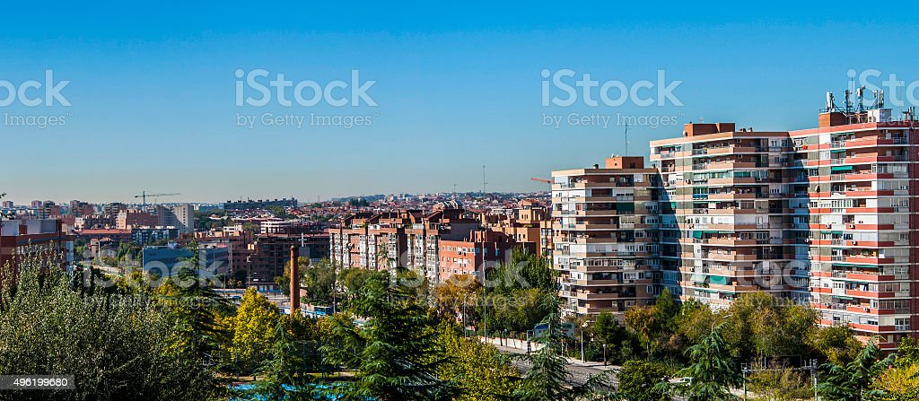 Traditional neighborhood in Madrid, Spain stock photo