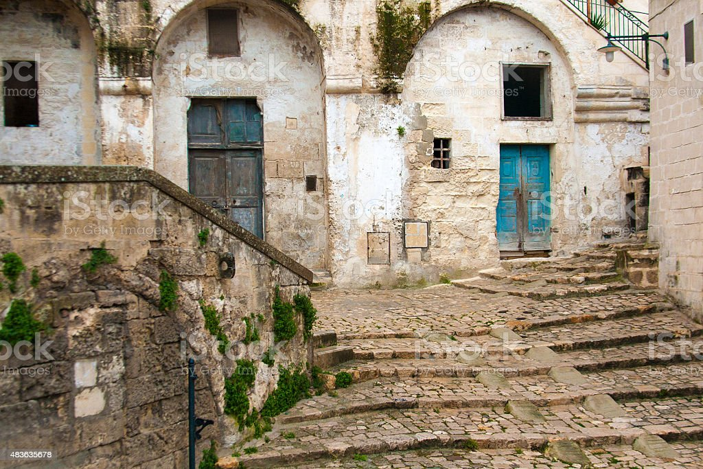 Traditional Neighborhood in Old Matera, Basilicata, Italy stock photo