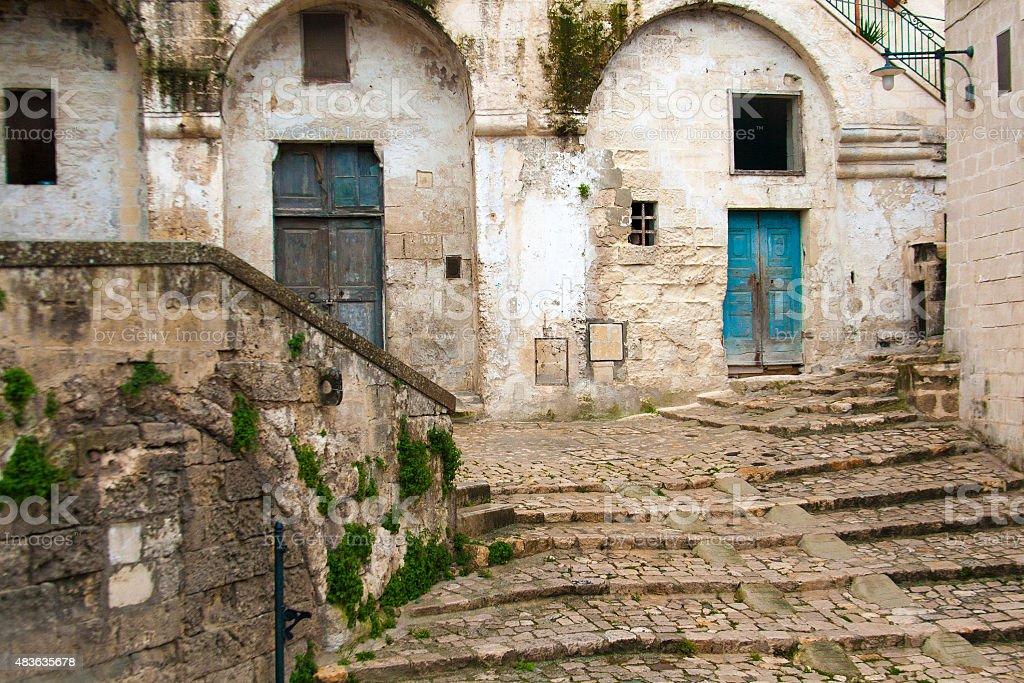 Traditional Neighborhood in Old Matera, Basilicata, Italy stock photo