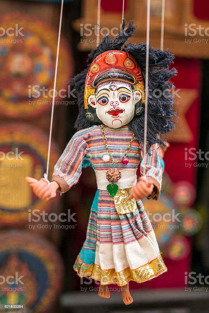 Traditional Nepalese puppet stock photo