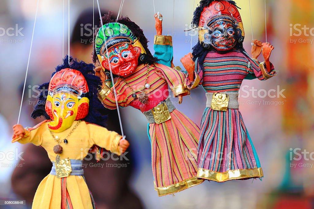 Traditional nepalese puppets-marionettes. Kathmandu-Nepal. 2023 stock photo