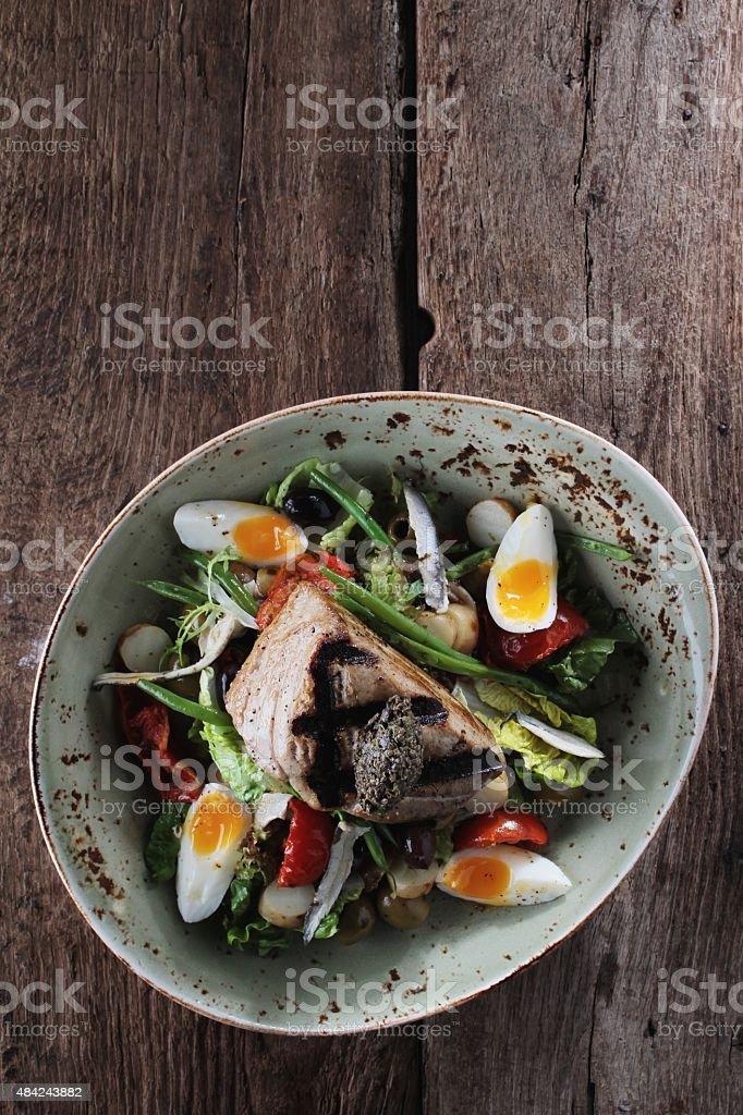 traditional nicoise tuna salad stock photo