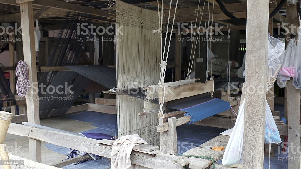 Traditional Northern Thai Cotton Weaving stock photo