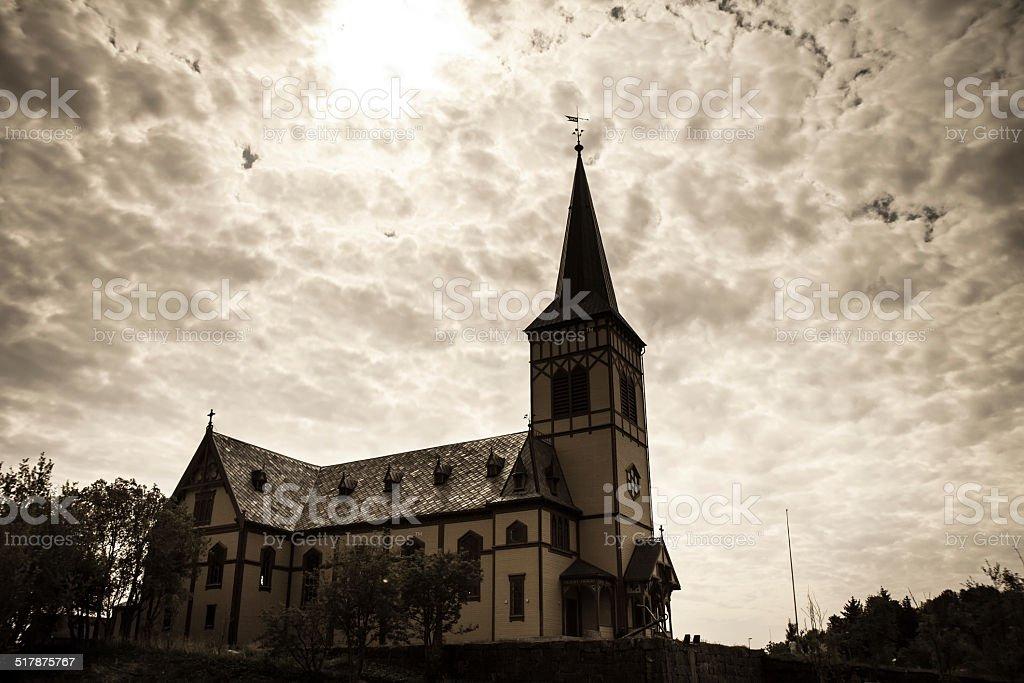 Traditional Norwegian church in Kabelvag, Lofoten, Norway stock photo