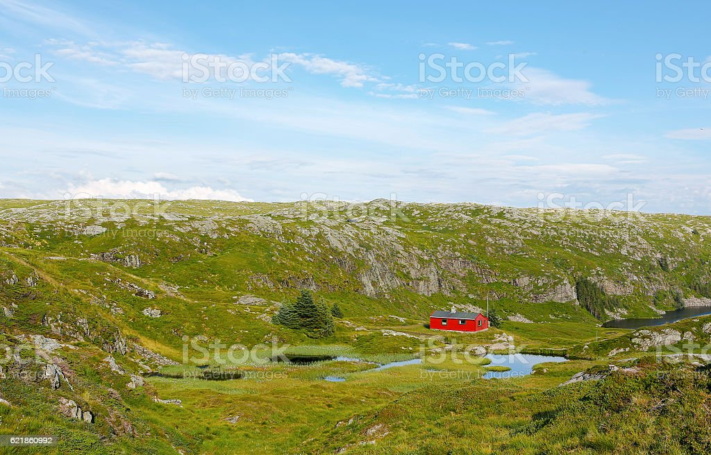 Traditional Norwegian countryside house stock photo