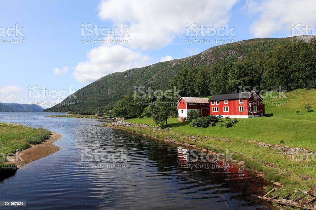 Traditional Norwegian house stock photo