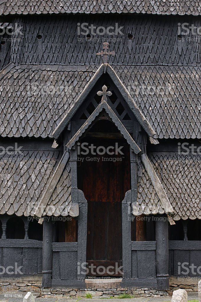 Traditional norwegian stave church detail. Borgund. Travel Norwa stock photo