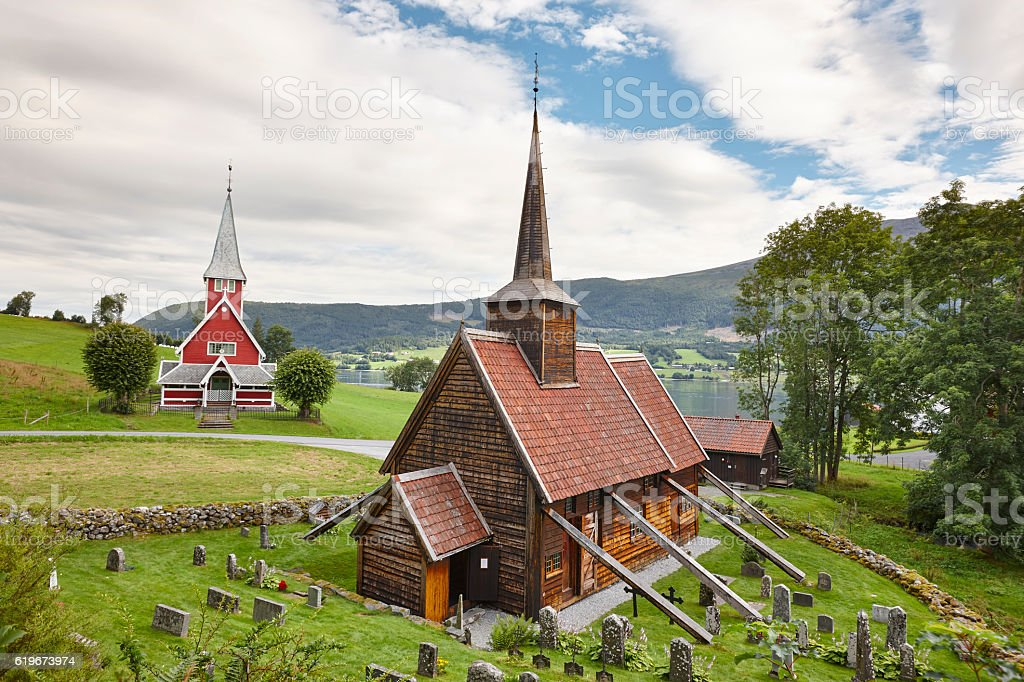 Traditional norwegian stave church. Rodven. Travel Norway. stock photo