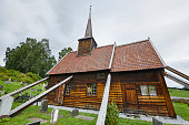 Traditional norwegian stave church. Rodven. Travel Norway. Touri