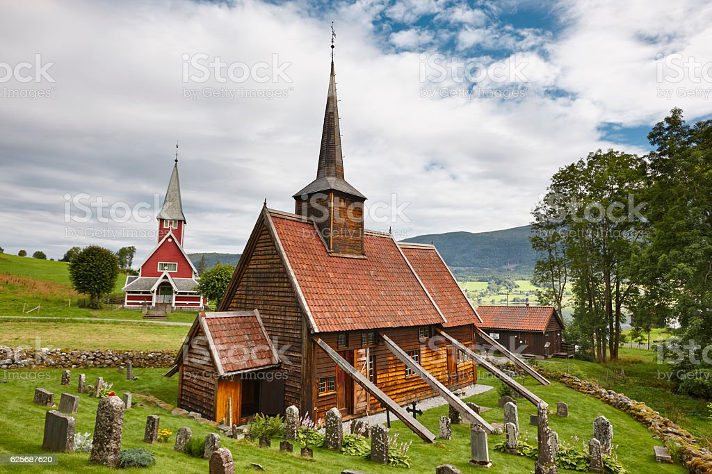 Traditional norwegian stave church. Rodven. Travel Norway. Touri stock photo