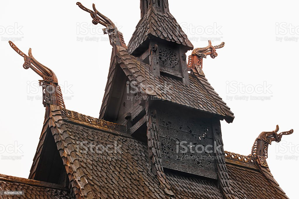Traditional norwegian stave roof church. Borgund. Travel Norway. stock photo