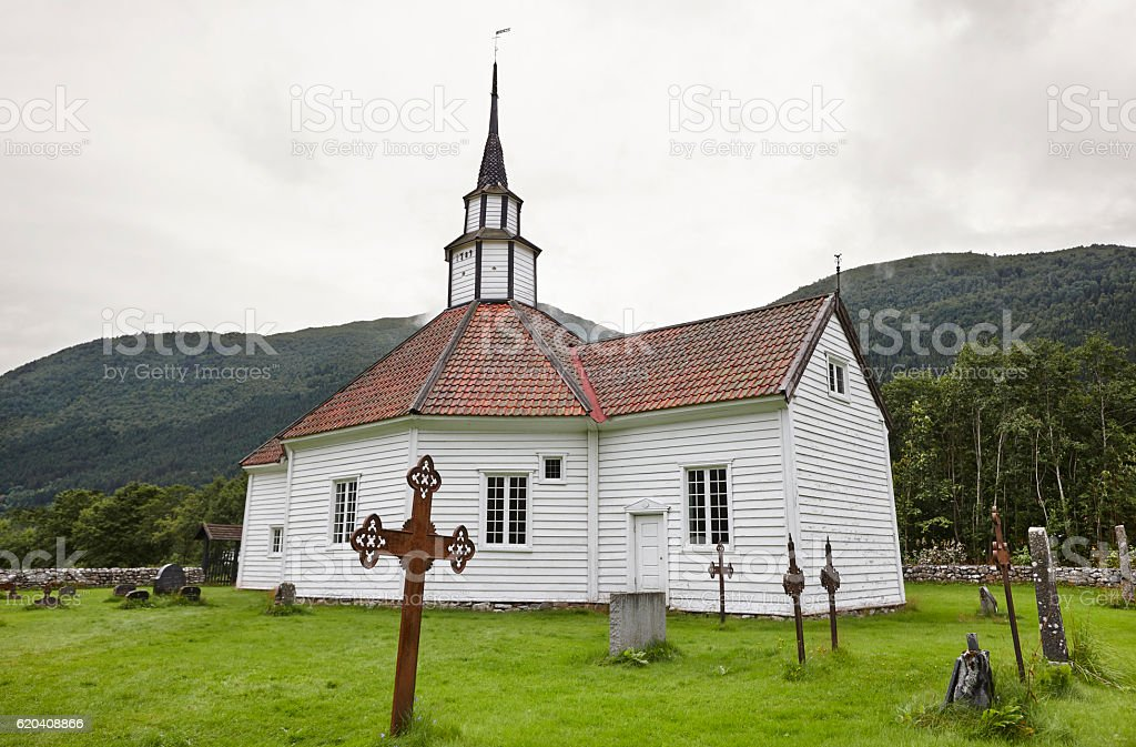 Traditional norwegian white wooden church. Stordal village. Trav stock photo