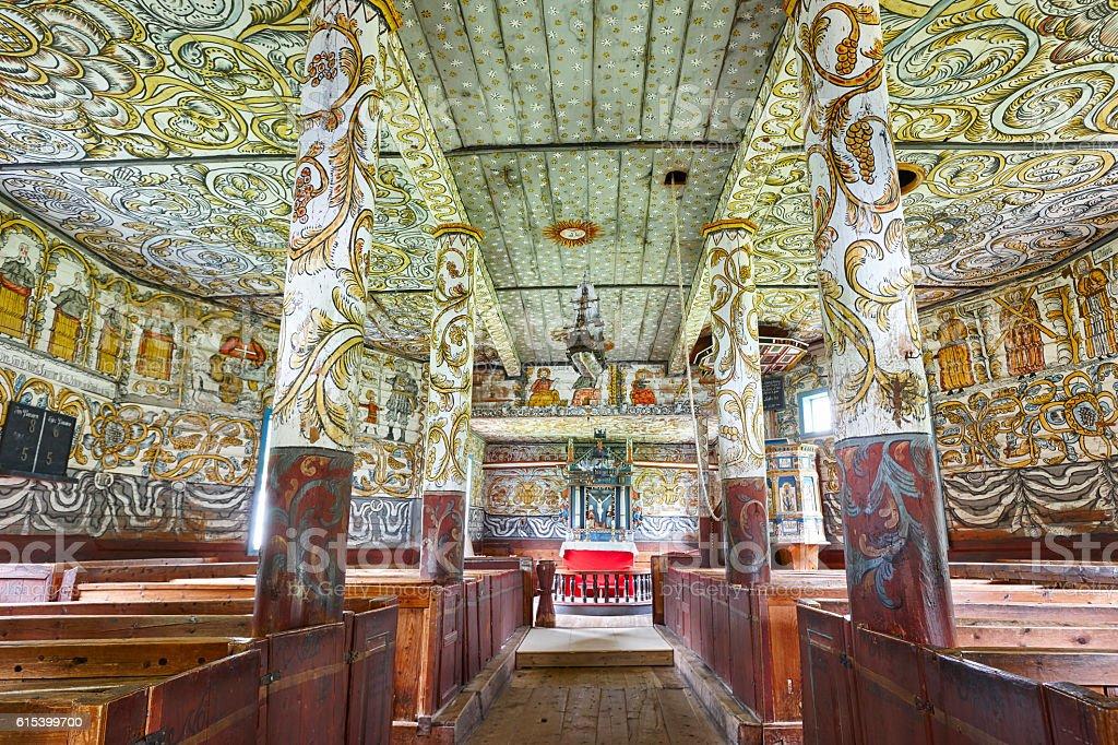 Traditional norwegian wooden church interior. Stordal stavkyrkje stock photo