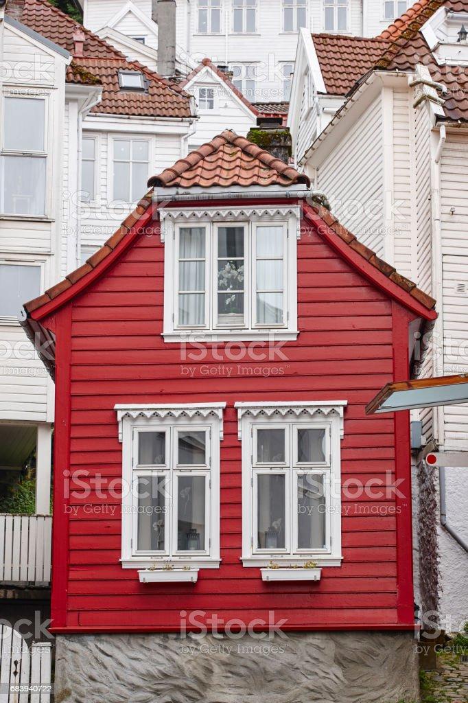 Traditional norwegian wooden facades. Antique street in Bergen. Norway. stock photo
