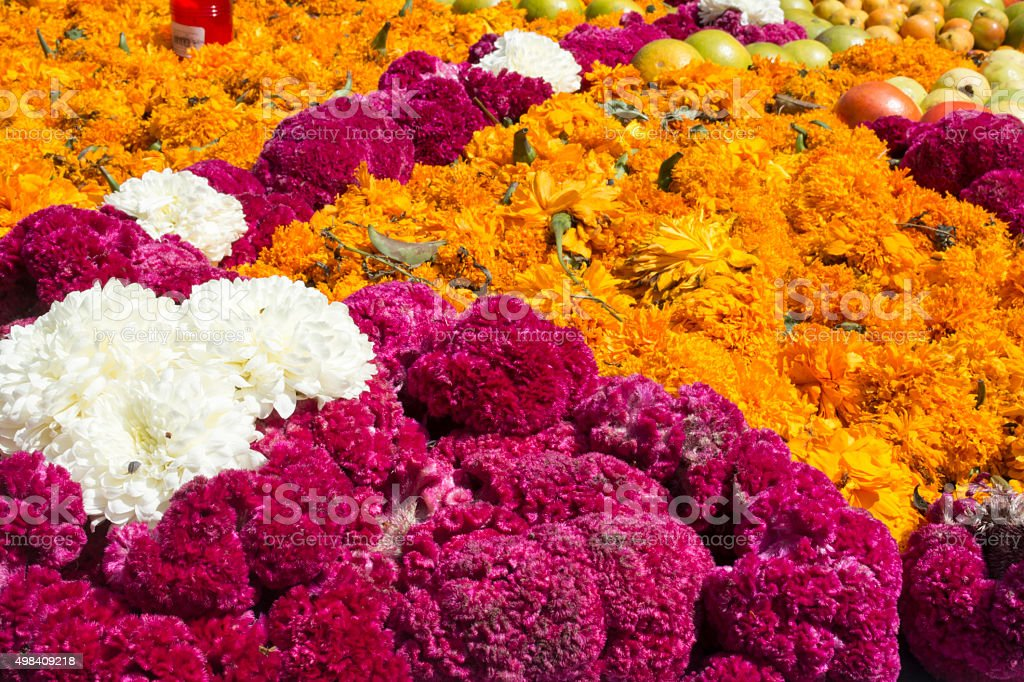 Traditional offering to the dead in mexico stock photo