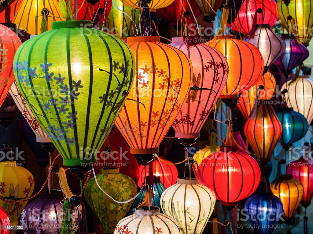 Traditional Oil Lamps in Hoi An, Vietnam stock photo