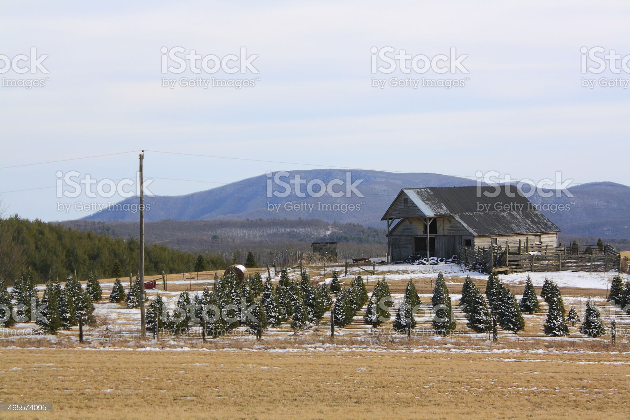 Traditional Old Barn in Winter royalty-free stock photo